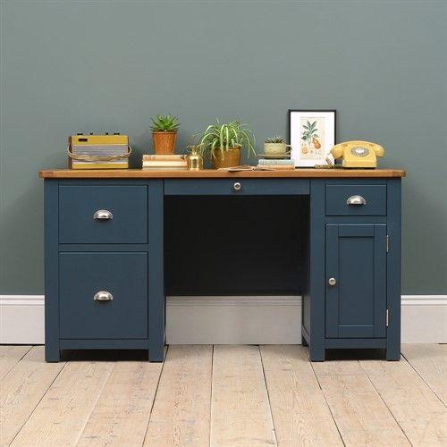 Westcote Blue Double Pedestal Desk The Cotswold Company Refurbished Desk Double Pedestal Desk Repainted Desk