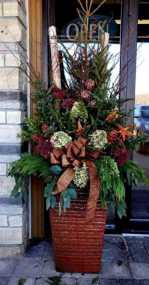logs blending in nicely with floral arrangement for a winter garden container #christmas  #containers #planters #gardenplanters #Log #birch  #pinecones #stars