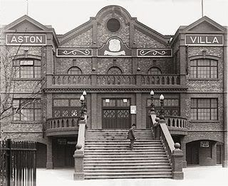 Trinity Road stand Aston Villa.  Frederick Rinder on the steps.