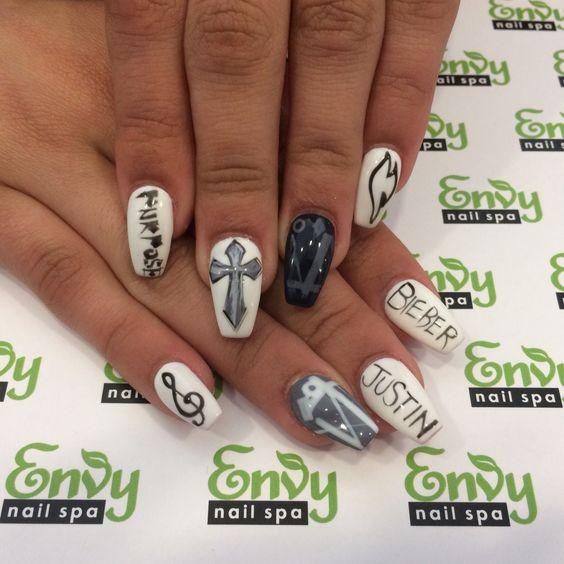 Justin Bieber Nails - Envy Nail Spa   Misc.   Pinterest   Nail envy ...