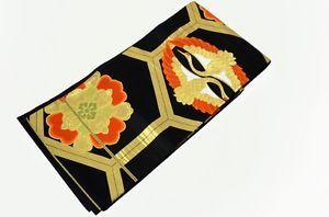 Japanese SILK FUKURO OBI Black Base Color, Kikkoh ni Hishoh Tsuru (Cranes)