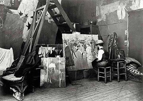 """Henri de Toulouse-Lautrec peignant """"La Danse au moulin Rouge"""",1890. Courtoisie  #yoyomaeght"""