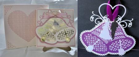 Wedding Bell card template hanging keepsake with box on Craftsuprint - Add To Basket!