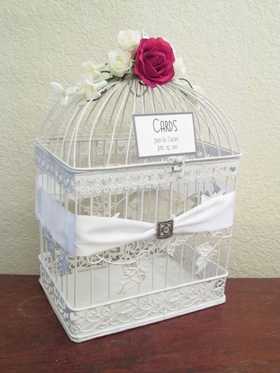 use a vintage bird cage as our wedding card box and ...