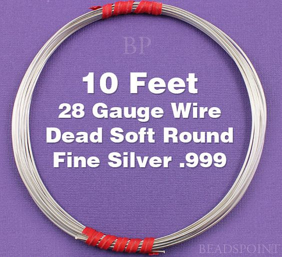 Fine Silver .999 28 Gauge Dead Soft Round Wire on by Beadspoint, $5.50