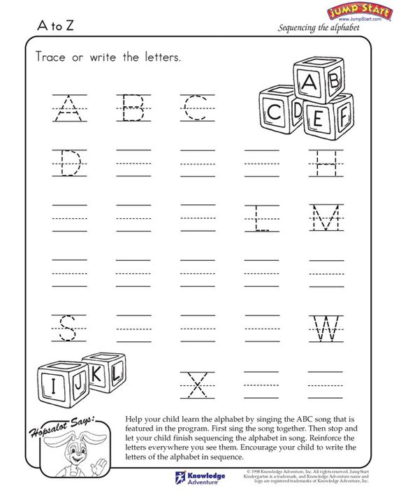 A-to-Z – English Worksheets for Kindergarten – JumpStart | Early ...