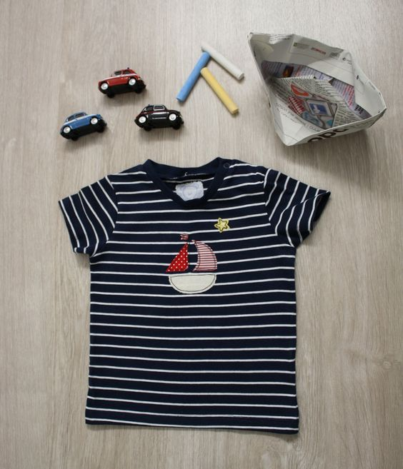 Maglietta bimbo maniche corte a righe blu e bianche con barchetta colorata taglia 4-6 mesi : Moda bambino di notonlyteddy