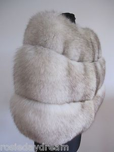 VTG IVORY WHITE ARCTIC BLUE NORWEGIAN FOX REAL FUR STOLE WRAP CAPE SHRUG WEDDING soon available on eBay