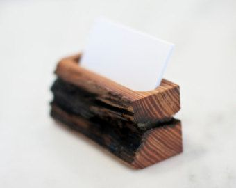Items similar to Reclaimed Wood Business Card Holder on Etsy