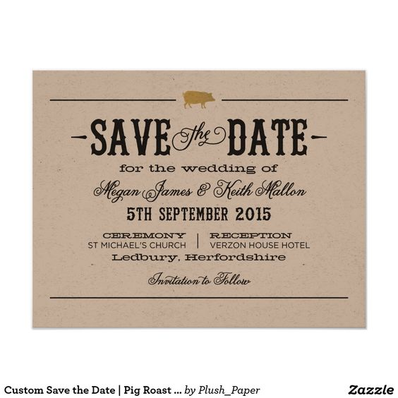 Custom Save the Date | Pig Roast Theme Card