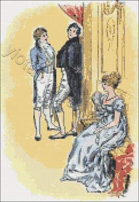 Elisabeth and Darcy - Pride and prejudice cross stitch kit, pattern