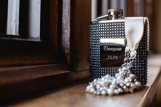 Monogrammed flasks for the men and a beautiful Nina necklace for her! Great wedding gifts! The University Club of St. Paul Minnesota Wedding // Megan and Kevin | David Grube Photography | David Grube Photography