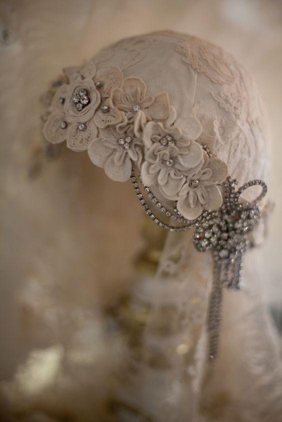 Sheelin Antique Lace Shop Antique Irish Crochet Headpiece. @designerwallace