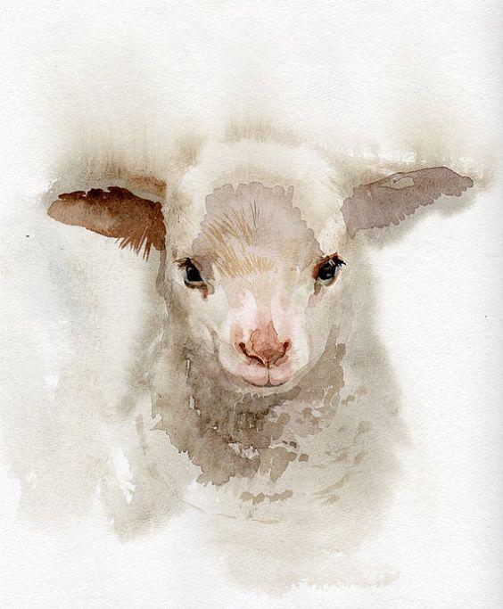 Lamb painting, GICLEE print, baby shower gift, nursery, farming, sheep, animal art, print of original watercolor