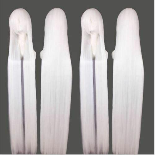 200cm Extra Long Straight White Game Anime Cosplay Wig Halloween Gray Hair Spray Anime Wigs Grey Wig