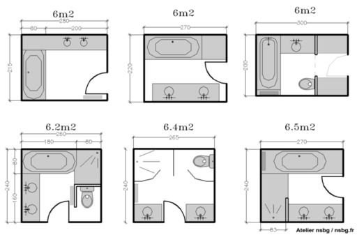 Design studios and maison on pinterest - Plan salle de bain 6m2 ...