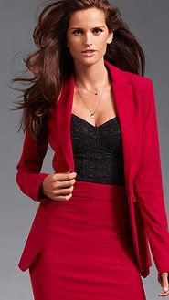 Red Womens Suit Jacket Dress Yy