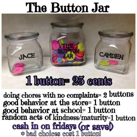 Button rewards for kids. Great way to encourage chores and good behavior.  Added a good behavior all day at home too;).