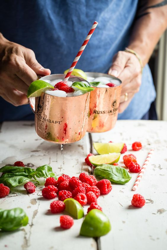 A traditional Moscow Mule with a fruity herby twist. Raspberry basil muddle…