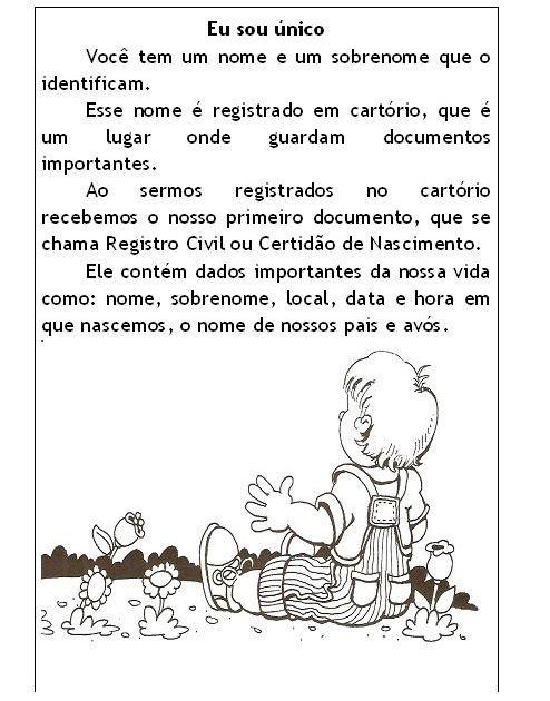 Lingua Portuguesa Texto Eu Sou Unico Com Imagens Textos