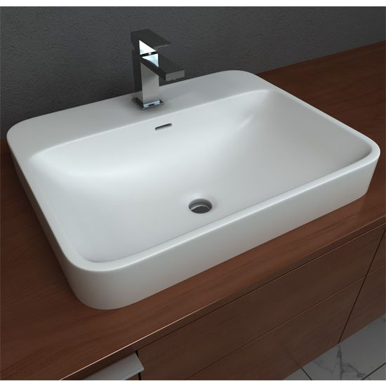 The Semi Recessed Bathroom Sink By Cantrio Has Rounded Edges And Is Finished In Matte White This Solidtech Bathroom Si Sink Semi Recessed Sink Sink Countertop