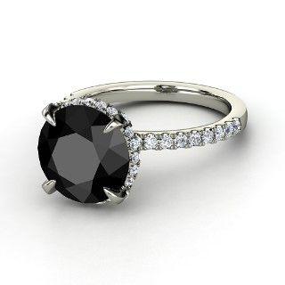 Carrie Ring, Round Black Diamond  Platinum Ring with Diamond from Gemvara