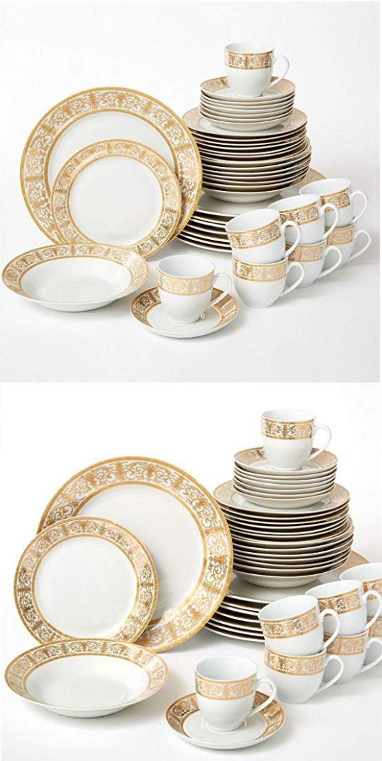 Details About Brylanehome 40 Pc Golden Ceramic Dinnerware Set 24k Gold White Ceramic Dinnerware Set Ceramic Dinnerware Dinnerware Set