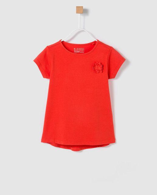 Camiseta De Nina Freestyle En Rojo Con Flor Camisetas Rojo Moda
