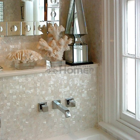 Pure White Shell Mosaic Tiles Backsplash Mosaic Tiles Panay Mother Of Pearl Mosaic Mosaic Tile Bathroom Wall Mosaic Bathroom Tile Mother Of Pearl Backsplash