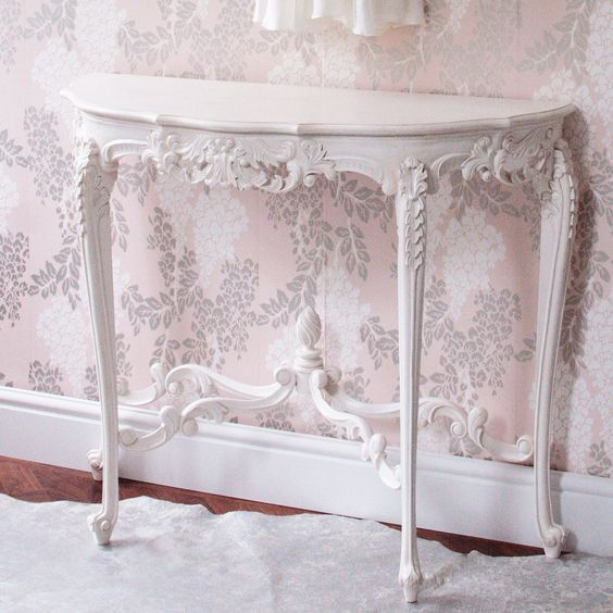 Bedroom Sofa Table: Provencal Marie Antoinette White Console Table