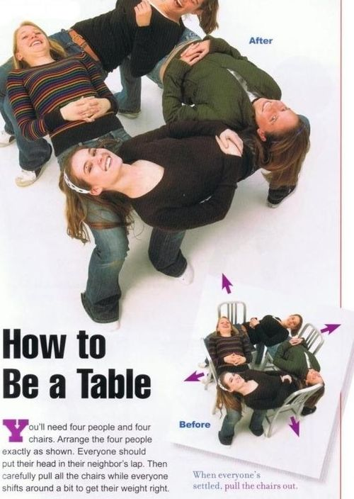 How to be a table.: Party Games, Bucket List, Idea, Funny Stuff, Youth Groups, Team Building