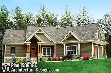 Plan 15883ge craftsman inspired ranch home plan house for Ranch style house plans with bonus room