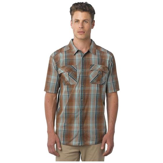 Prana Midas Shirt - Men's Brown Small. Plain weave yarn-dye fabrication. Small scale plaid. Snap closure. Novelty crinkle wash treatment. Fibers which meet regulations by the USDA National Organic program, ensuring highest environmental agricultural practices.