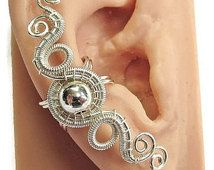 "Tarnish-Resistant Silver ""Hands of Time"" Woven Ear Cuff"