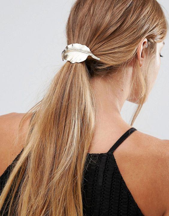 Glamorous – Haargummi mit Blattverzierung