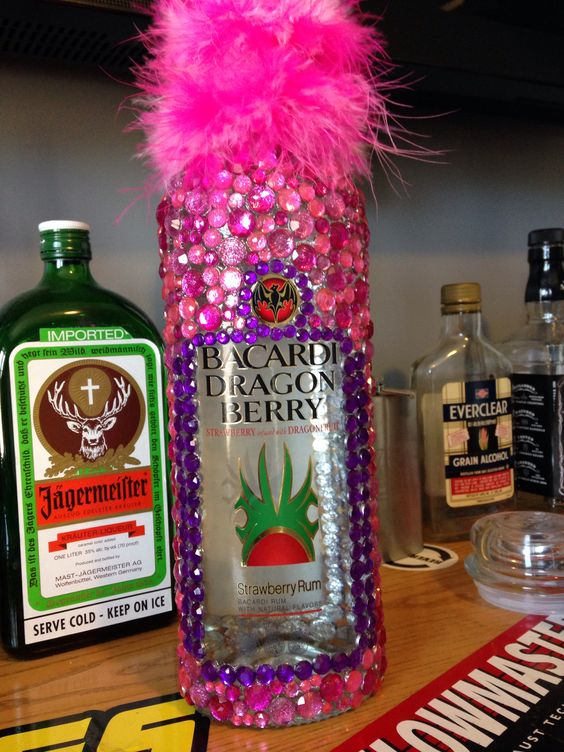 bedazzled liquor bottle for a 21st present it took me