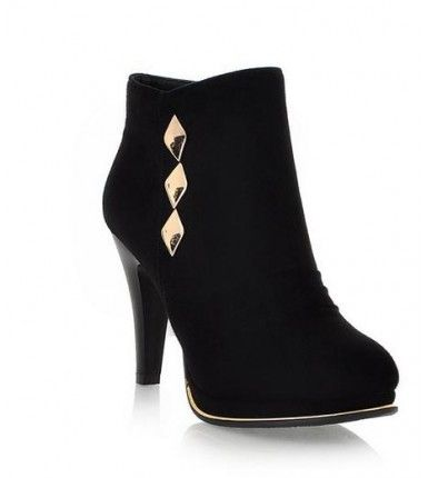 Casual Suede Round Toe High Heels Martin Boots