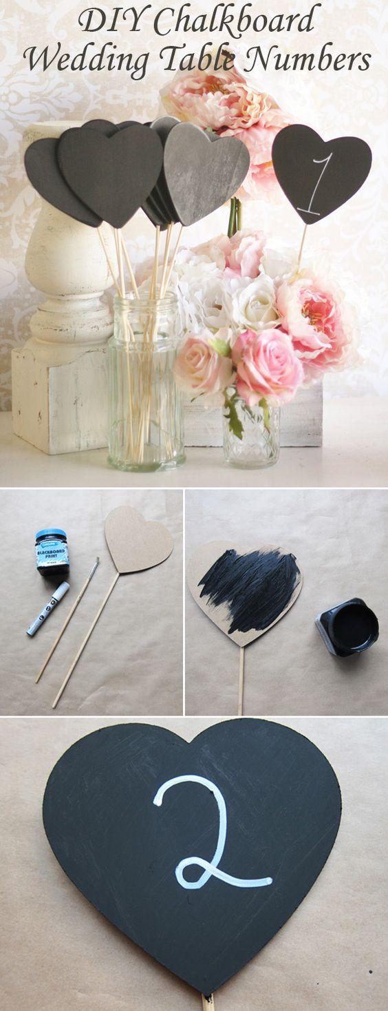 creative diy heart shaped chalkboard wedding table number ideas