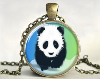 Panda art pendant, Panda necklace, Panda jewelry, Wildlife jewelry, Art Pendant, Picture Pendant, Gift, Print (0582)