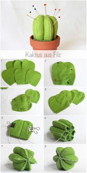 Felt cactus pincushion tutorial, www.deschdanja.ch: