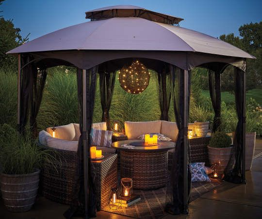 Wilson Fisher Manhattan Faux Rattan Battery Operated Chandelier With Remote Gazebo Backyard Gazebo Outdoor Pergola