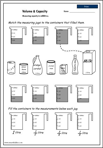 Measurement Capacity Worksheets - Scalien