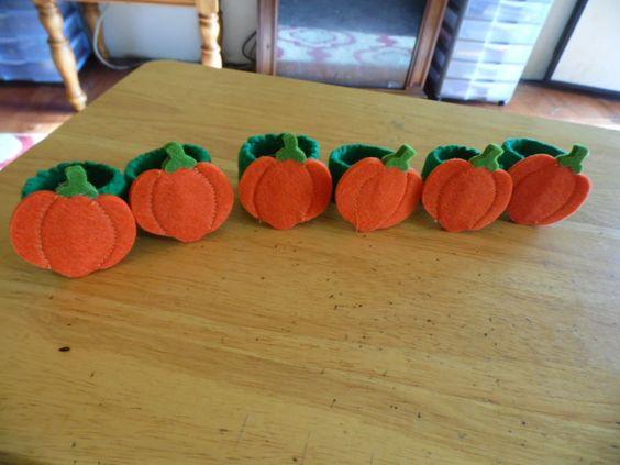 Napkin Rings Set of 6 Felt Pumpkin Napkin Rings #Handmade