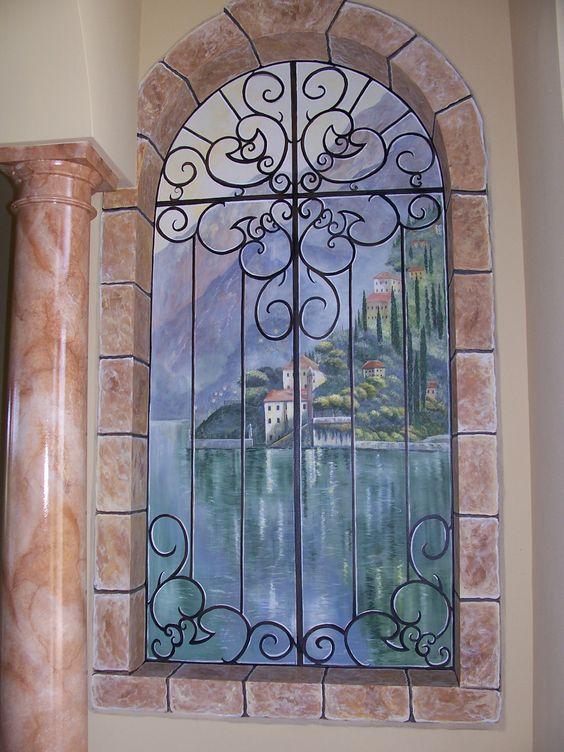 Trompe l'oeil, mural, faux marble pillar, niche artwork, by Louise Moorman
