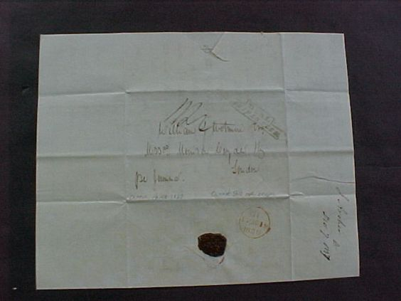 1837 - CANTON CHINA / OPIUM TRADE STAMPLESS DEAL SHIP LETTER to WILLIAM WETMORE