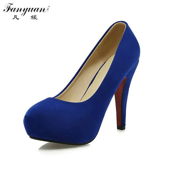 Women Spring Platform Pumps 2017 Sexy Ladys Wedding Shoes Thick Heel Slip On Shallow Official