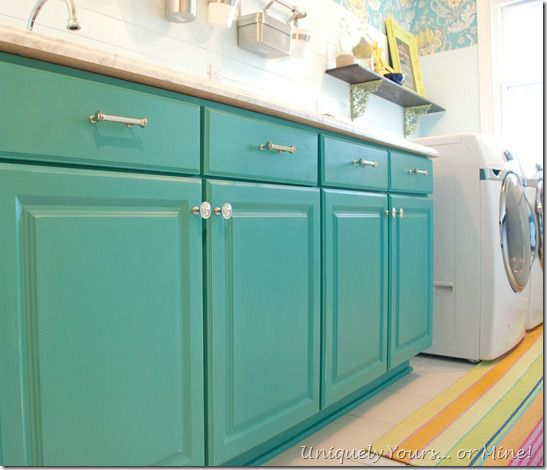Painting Kitchen Cabinets Annie Sloan: Teal Painted Laundry Room Cabinets, Annie Sloan Chalk