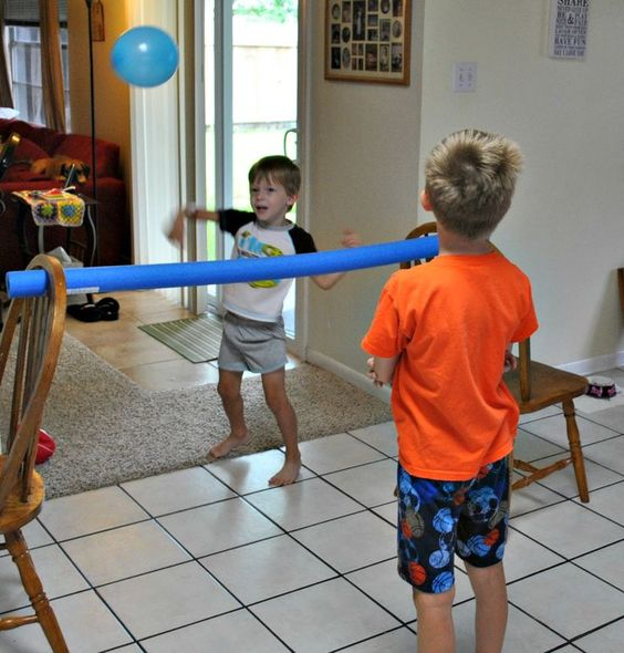 Indoor volleyball. Pool noodle tucked in chairs, balloon. Enjoy!