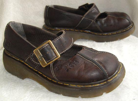 Vintage Dr. Marten's, Doc Martens Mary Jane Shoes 12277, Women's Size 7 US or 5 UK, Leather, Adjustable Buckle, Brown