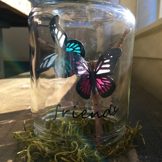 I absolutely love custom orders, like this 'friends' jar with two special butterflies.   What can I create for you?